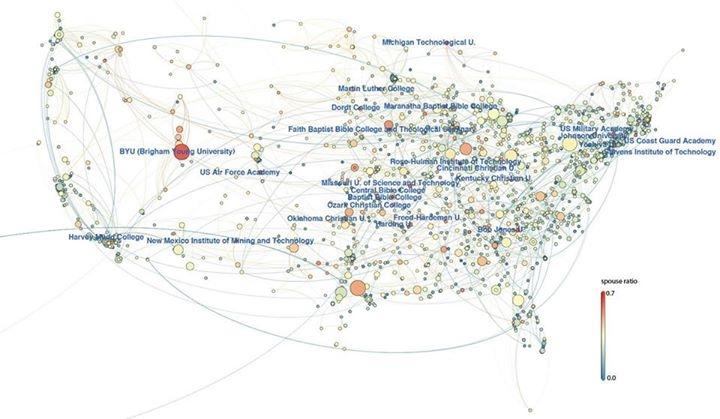 Mapa vysokých škol v USA