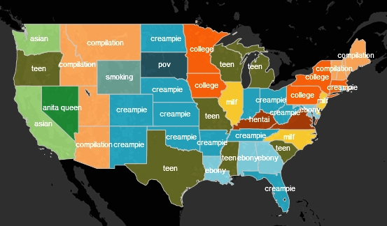 Nejvyhledávanější slova v jednotlivých státech USA (stejná barva označuje stejný nejvyhledávanější termín)