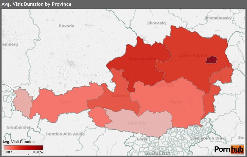 Průměrná doba návštěvy z dané spolkové země Rakouska. Čím tmavší barva tím delší průměrná doba návštěvy.